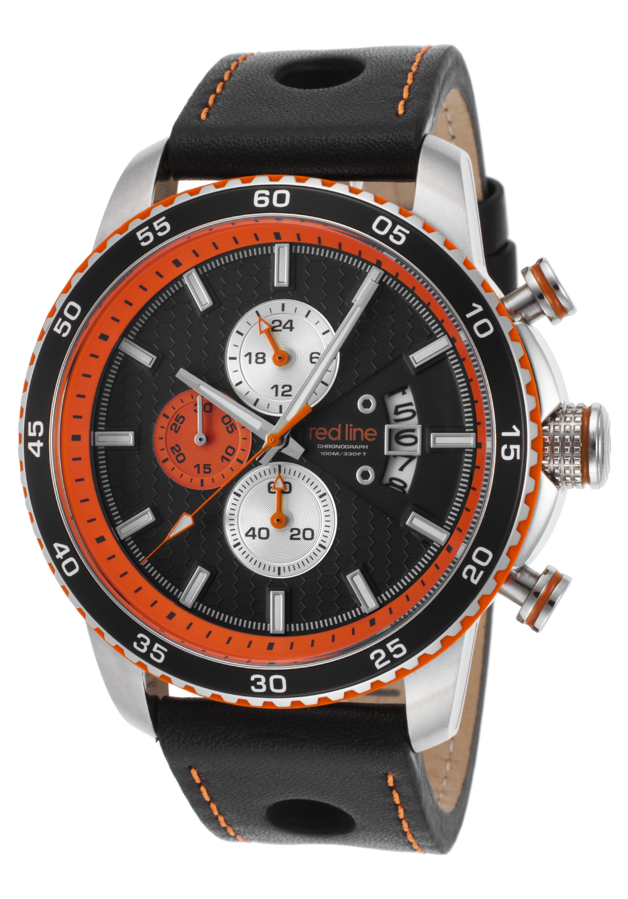 front chronograph black shop leather watches bomberg red quartz bolt